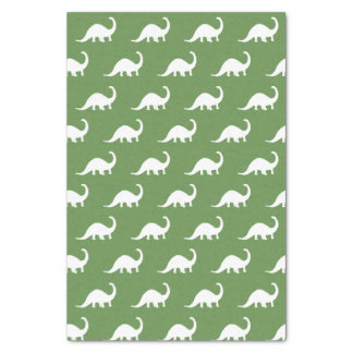 Papel De Seda Impressão branco dos dinossauros do Brontosaurus