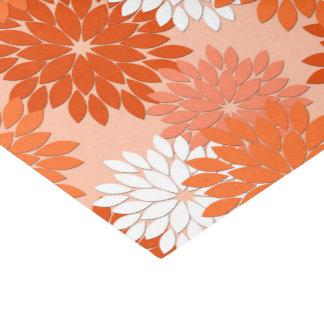 Papel De Seda Impressão floral moderno do quimono, laranja coral