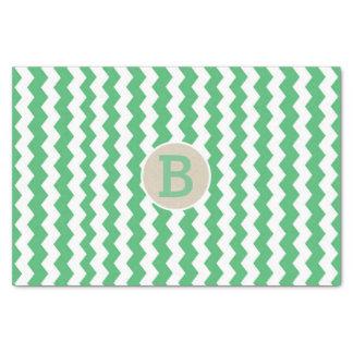 Papel De Seda Inicial branca verde do monograma do teste padrão