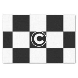 Papel De Seda Inicial Checkered branca preta do monograma dos