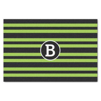 Papel De Seda Inicial preta & verde da letra do monograma das