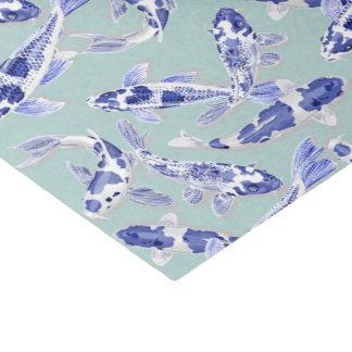 Papel De Seda Koi azul e branco