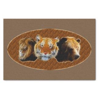 Papel De Seda Leão e tigre e urso