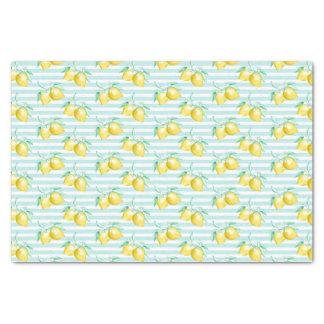 Papel De Seda Limões amarelos na luz - branco azul listrado