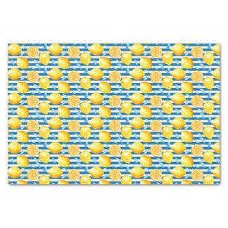 Papel De Seda Limões amarelos no branco azul listrado