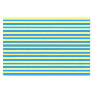 Papel De Seda Listras do azul francês e do amarelo