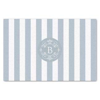 Papel De Seda Listras do toldo do azul francês e do branco com