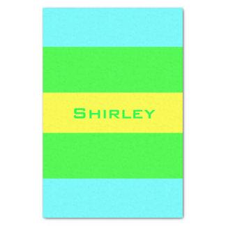Papel De Seda Listras largas amarelas, verdes, azuis por Shirley