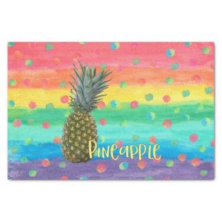 Papel De Seda Listras na moda e pontos do arco-íris do abacaxi