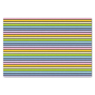 Papel De Seda Listras Pastel esboçadas preto do arco-íris