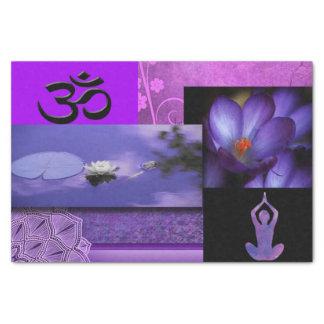 Papel De Seda Lotus roxo & colagem da meditação de Chakra da
