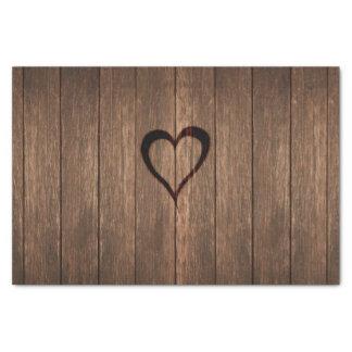 Papel De Seda Madeira rústica impressão queimado do coração