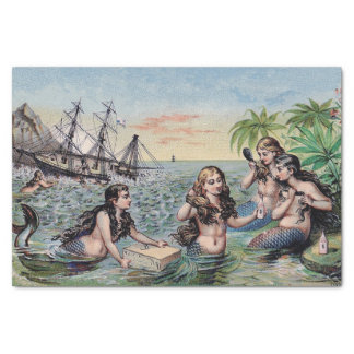 Papel De Seda Mágica da antiguidade do vintage da sereia náutica