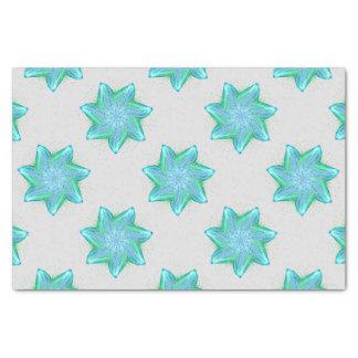 Papel De Seda Mandala azul de néon da estrela do mar