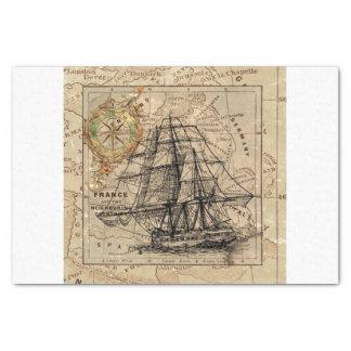 Papel De Seda Mapa e navio do vintage