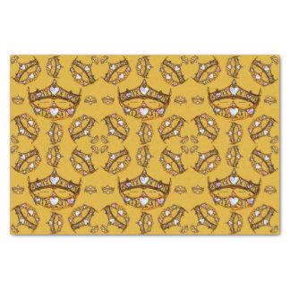 Papel De Seda Mostarda do teste padrão da tiara da coroa do ouro