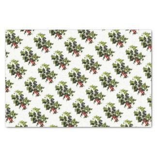 Papel De Seda Natal do design do azevinho e da hera