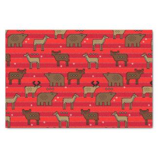 Papel De Seda Natal do vermelho dos alces e do urso