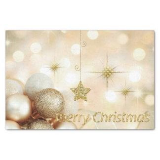 Papel De Seda Natal dourado das bolas & das estrelas do