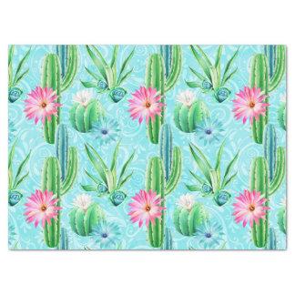Papel De Seda O cacto floresce o succulent cor-de-rosa do verde