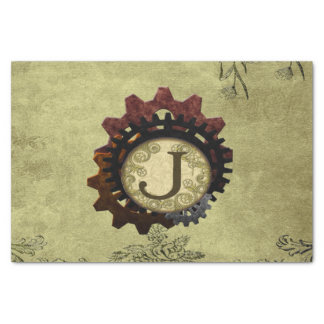 Papel De Seda O Grunge Steampunk alinha a letra J do monograma