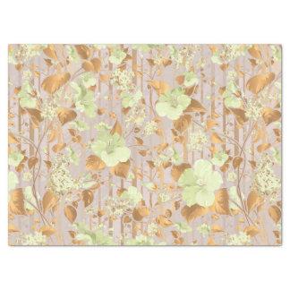 Papel De Seda O hibiscus floresce floral de cobre verde da