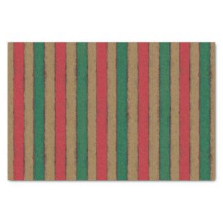 Papel De Seda O Natal listra o vermelho, o verde e o Brown