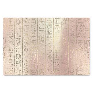 Papel De Seda O ouro do rosa do rosa metálico cora Hieroglyphs