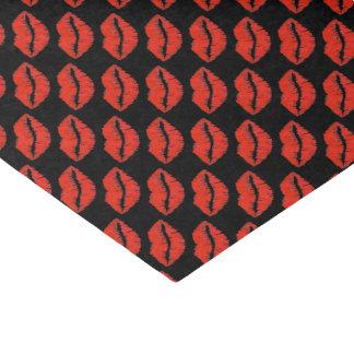 Papel De Seda O tecido dos namorados vermelhos pretos do batom