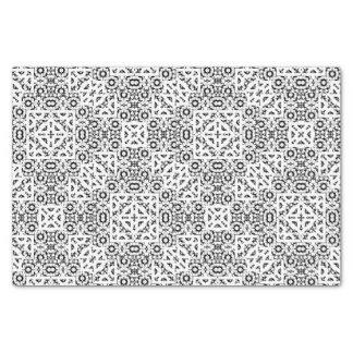 Papel De Seda Ornamentado oriental preto e branco