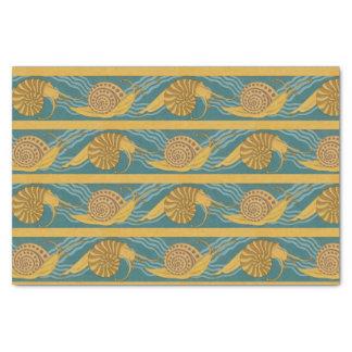 Papel De Seda Ouro amarelo azul da cerceta do caracol do
