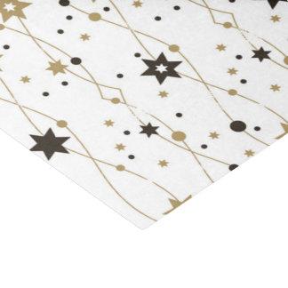 Papel De Seda Ouro e estrelas pretas do feriado