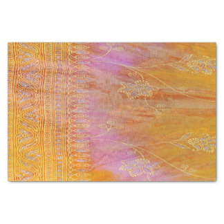 Papel De Seda Ouro e material oriental floral alaranjado