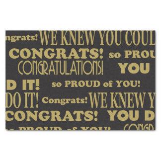 Papel De Seda Ouro graduado e parabéns pretos