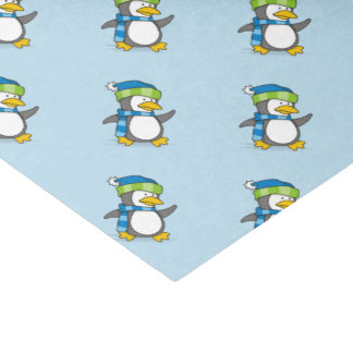 Papel De Seda Pinguim pequeno que anda na neve