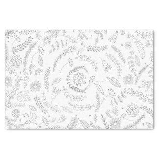 Papel De Seda Prata & floral Glam elegante botânico branco