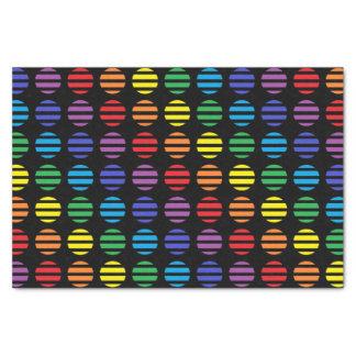 Papel De Seda Preto das bolinhas e das listras do arco-íris