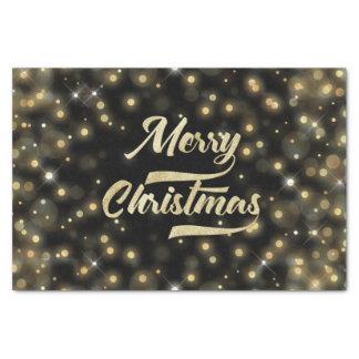 Papel De Seda Preto do ouro de Bokeh do brilho do Feliz Natal