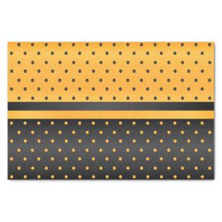 Papel De Seda Preto e teste padrão de bolinhas amarelo dourado