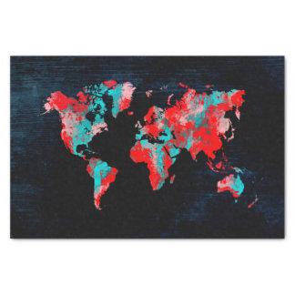 Papel De Seda preto vermelho do mapa do mundo