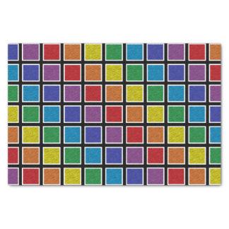 Papel De Seda Quadrados estáticos esboçados branco do arco-íris