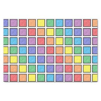 Papel De Seda Quadrados estáticos esboçados preto do arco-íris
