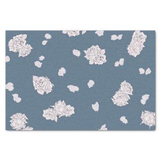 Papel De Seda Rosas azuis e brancos