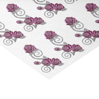 Papel De Seda Rosas decorativos & teste padrão de prata da jóia