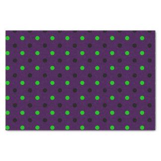 Papel De Seda Roxo escuro com as bolinhas verdes & pretas
