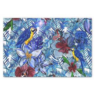 Papel De Seda Selva do azul Aloha & flores exóticas tropicais de