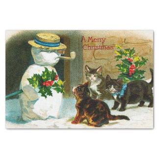 Papel De Seda Tecido do partido dos gatos do boneco de neve do