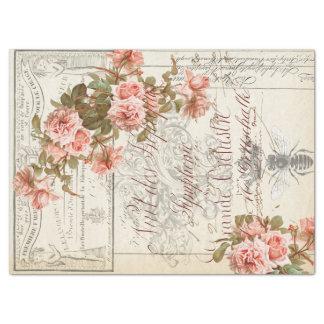 Papel De Seda Tecido floral de Decoupage das coisas efêmeras