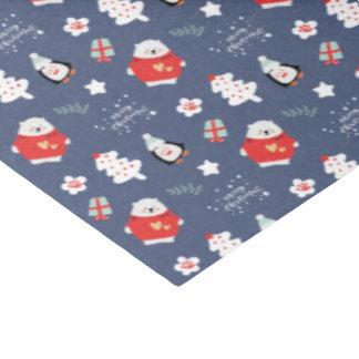 Papel De Seda Teste padrão azul lunático dos bichos do Natal