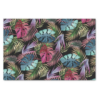Papel De Seda Teste padrão botânico da folha tropical colorida